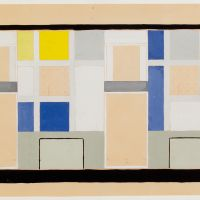 Theo van Doesburg. Café Aubette, colour design for a wall in the Grand Salon, 1927. Collection Het Nieuwe Instituut, donation Van Moorsel, DOES ab5205. Drawing on display in Belvere, Vienna.