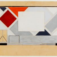 Theo van Doesburg. Café Aubette, definitive colour design for he projection wall in the Cinema-Dance Hall. Collection Het Nieuwe Instituut, DOES ab5206. Drawing on display in Barbican Art Gallery, London.