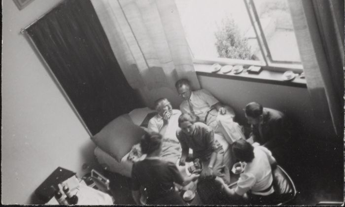 Guests, including Cornelis van Eesteren, in Theo and Nelly van Doesburg's studio-house in Meudon-Val-Fleury. Photograph by Piet Zwart, possibly taken during the CIAM conference in Paris in 1937. Collection Het Nieuwe Instituut, ZWAR ph723. Copyright Pictoright
